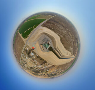 Forrest Frick Pumping Plant aerial fisheye view