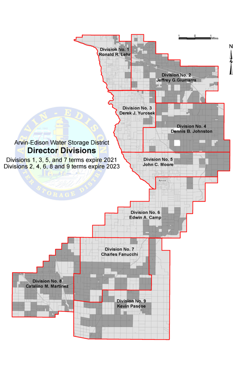 Map showing the Director Divisions: Division 1, Ronald R. Lehr; Division 2, Jeffrey G. Giumarra; Division 3, Derek J. Yurosek; Division 4 Dennis B. Johnston; Division 5, John c. Moore; Division 6, Edwin A. Camp; Division 7, Charles Fanucchi; Division 8, Catalino m. Martinez; Division 9, Kevin Pascoe. Divisions 1,3, 5 and 7 terms expire 2021. Division 2, 4, 6, 8 and 9 terms expire 2023.